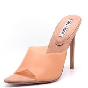 Cape Robbin Blush Peachy Open Mule Stiletto Heels
